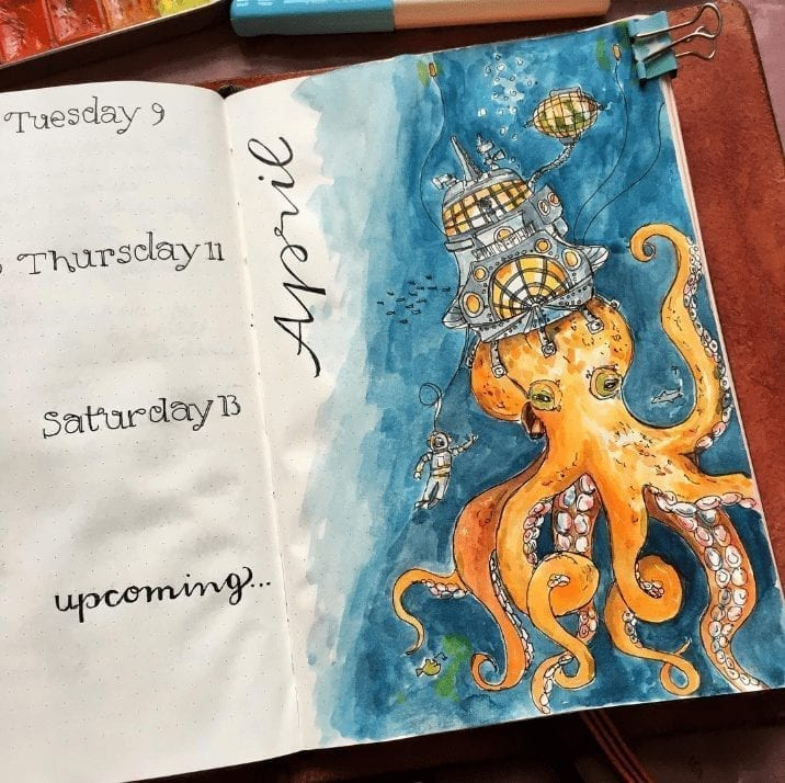 watercolor octopus with building on it's head april weekly log
