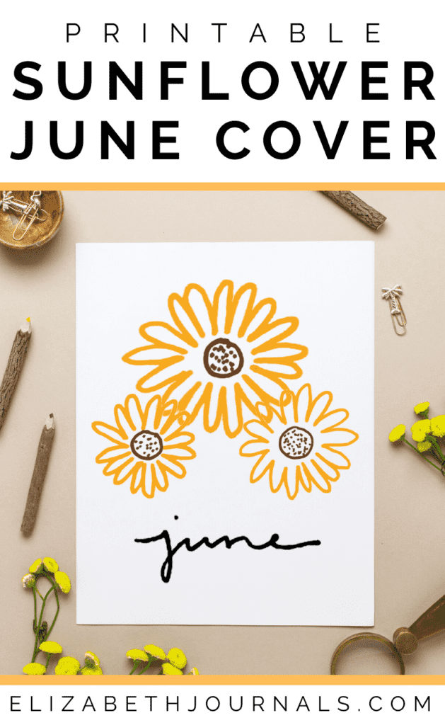 This printable layout is a cover or hello page for the month of June. This layout is minimal yet features three yellow sunflower doodles.