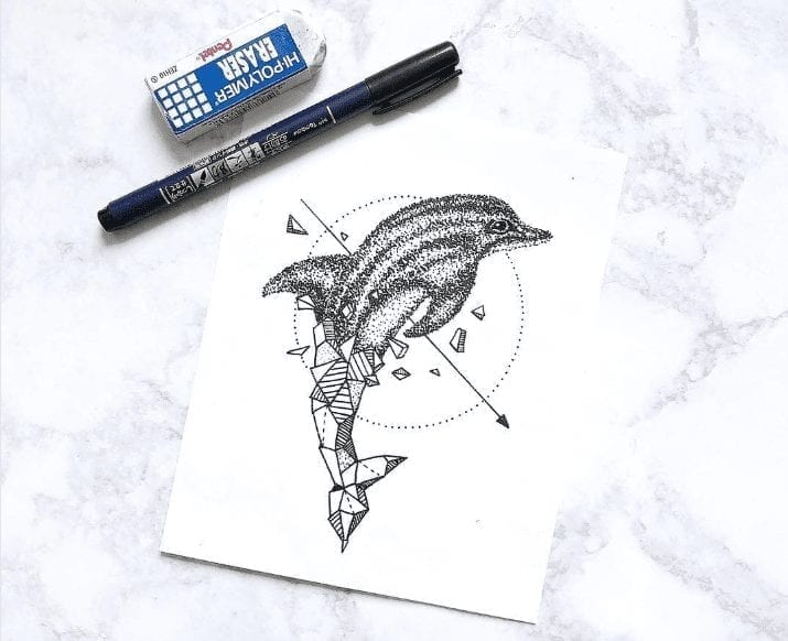dolphin drawing with top half realistic and bottom half geometric