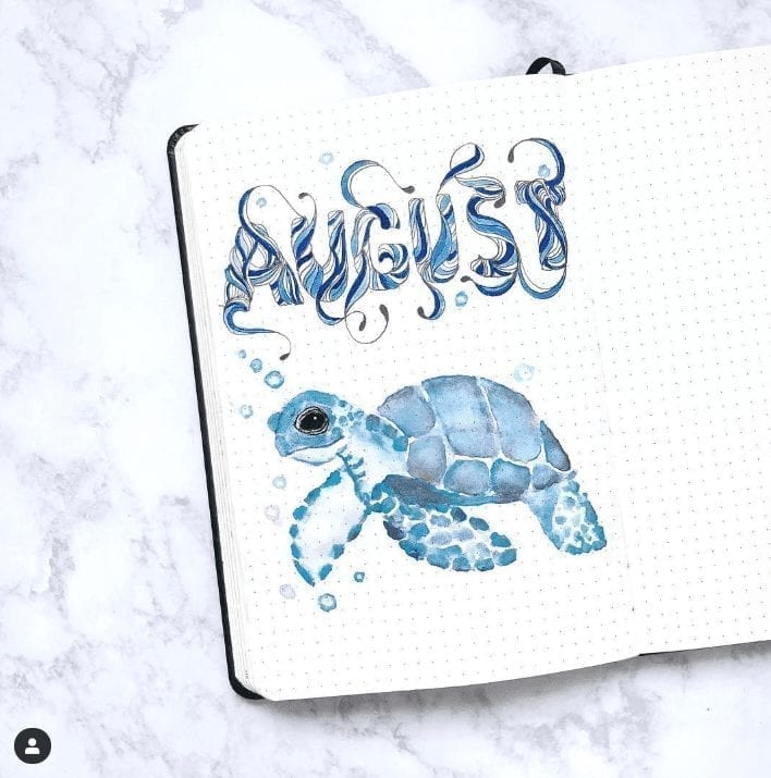 blue watercolor sea turtle august cover page