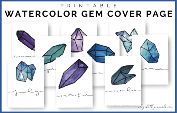 These Watercolor Gem Hello Monthly Bullet Journal Printables includes 12 cover or hello pages. These layouts are minimal yet feature a purple, teal...