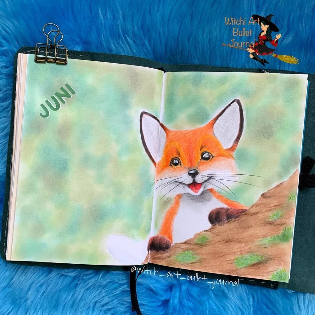 green watercolor with orange painted fox