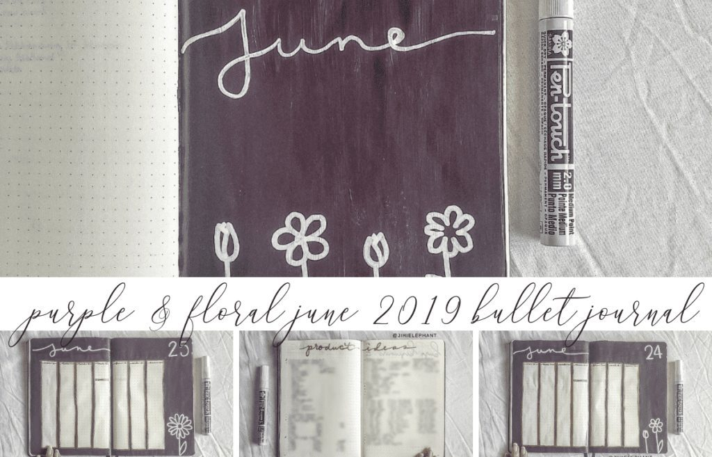 Purple & Floral June 2019 Bullet Journal Plan-with-Me
