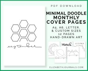 listing image 1-pdf download-minimal doodle monthly cover page-a5 a6 letter and custom sizes-previous of 6 of the layotus-elizabethjournals