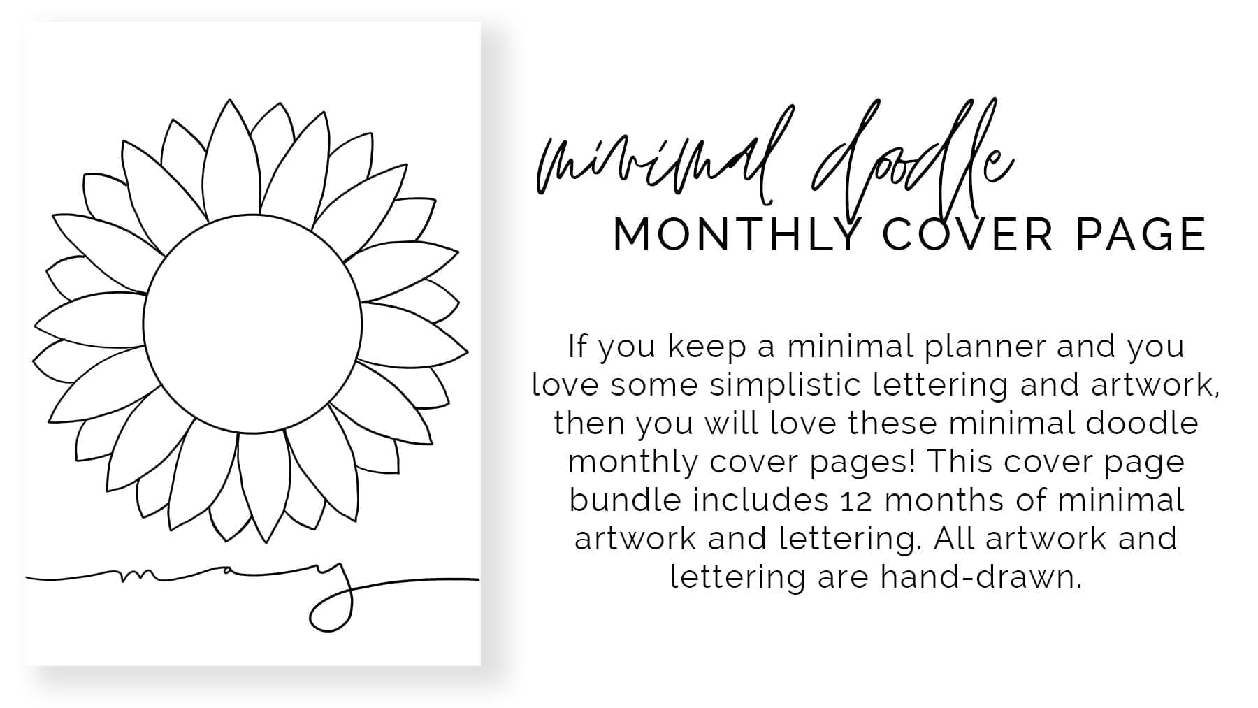 product banner- one page mockup-minimal doodle monthly cover page-product description included