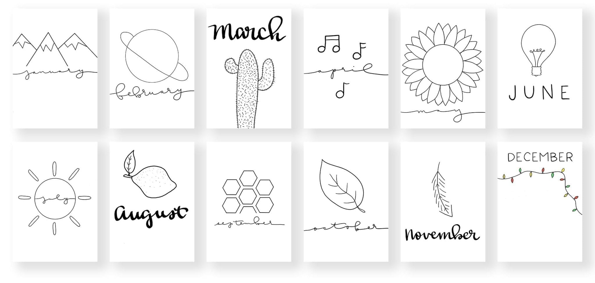 product banner- two rows of 6 mockups-one mockup for each page