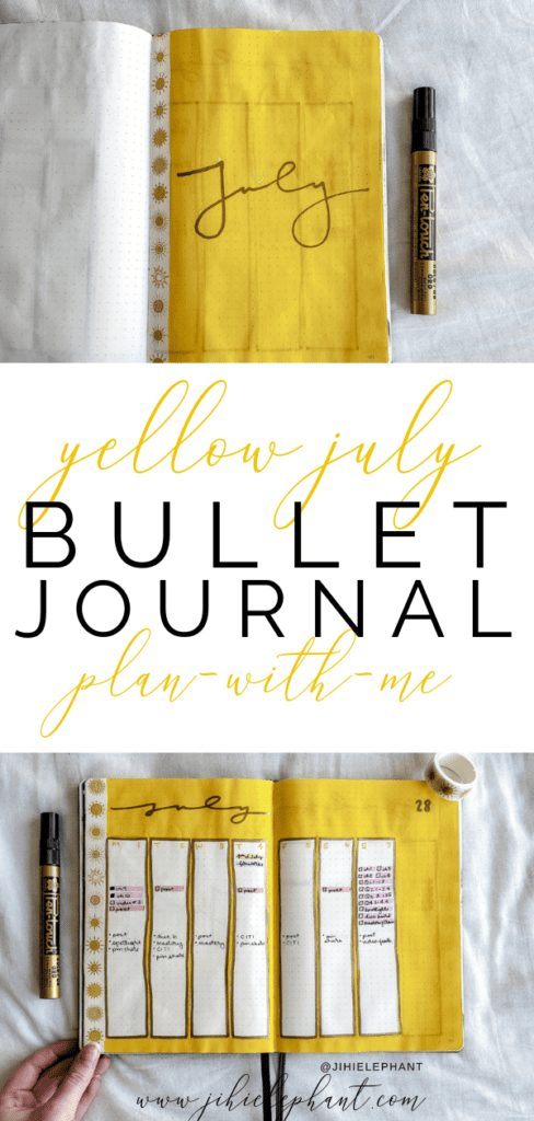 Sunshine Yellow July Bullet Journal Plan-with-Me