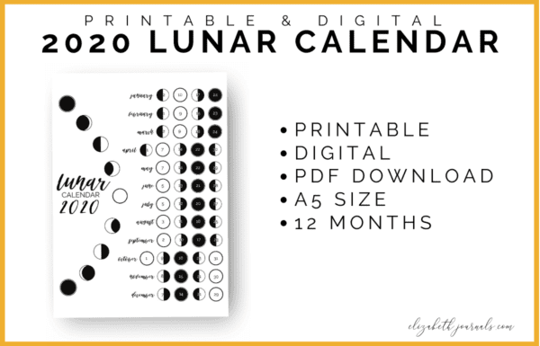 These lunar calendars display the lunar cycle for 2019 or 2020 in an aesthetic fashion. This one-page layout shows the 4 moon phases for January through December including dates. This printable is great for any person wishing to track the lunar cycle in their planner. Instantly download the PDF of this design once you purchase the listing.