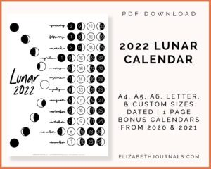 2022 lunar calendar-pdf download-a4, a5, a6, letter custom sizes-dated-1 page-bonus calendars from 2020 and 2021
