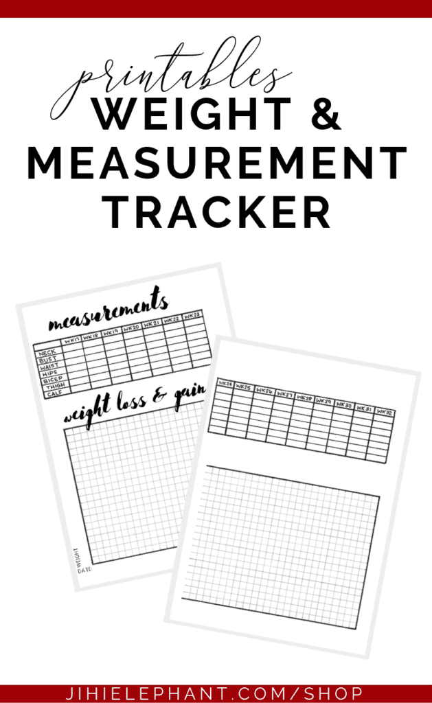 This printable includes a measurement tracker and weight chart. These pages are great for any person wishing to track their measurements and weight.