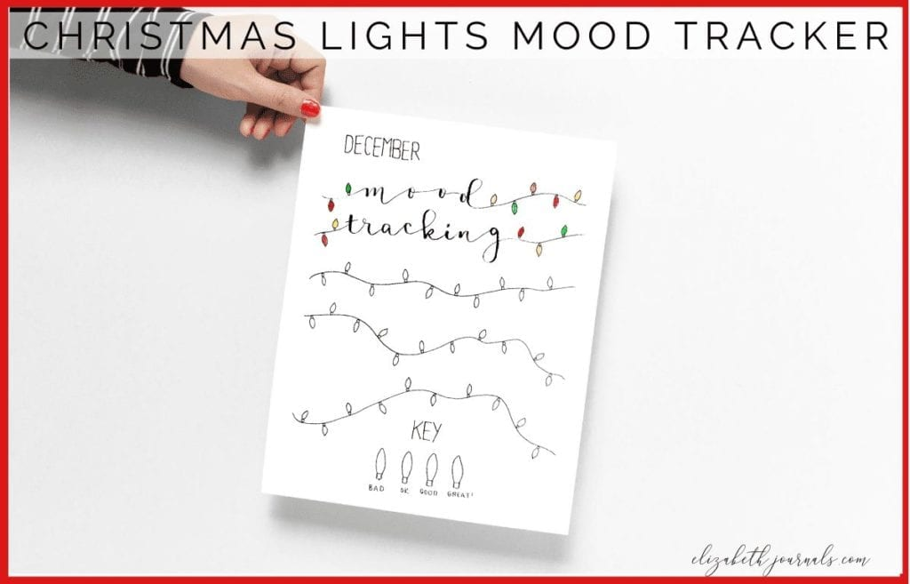 This Christmas lights mood tracker is a one-page tracker. The different light bulbs can be colored in to depict each days mood.