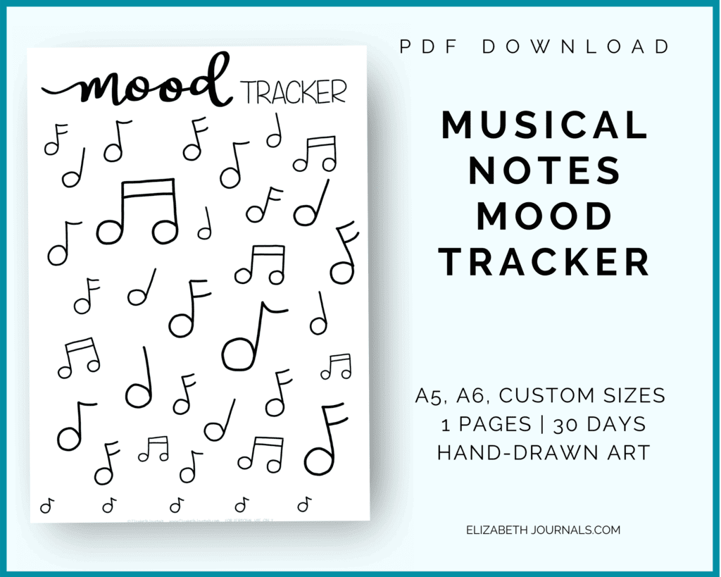 music note mood tracker info image: pdf download, a5, a6, custom sizes, 1 page, 30 days, hand-drawn art