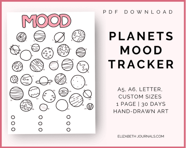 planets mood tracker info: pdf download, a5, a6, letter, custom sizes, 1 page, 30 days, hand-drawn art