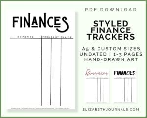 styled finance trackers_3 styles_a5 size_undated_hand drawn_pdf download