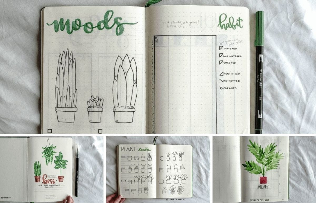 For Bess's custom planner, the primary color is green and the theme is houseplant care. The layouts involved include a title page, index, future log...
