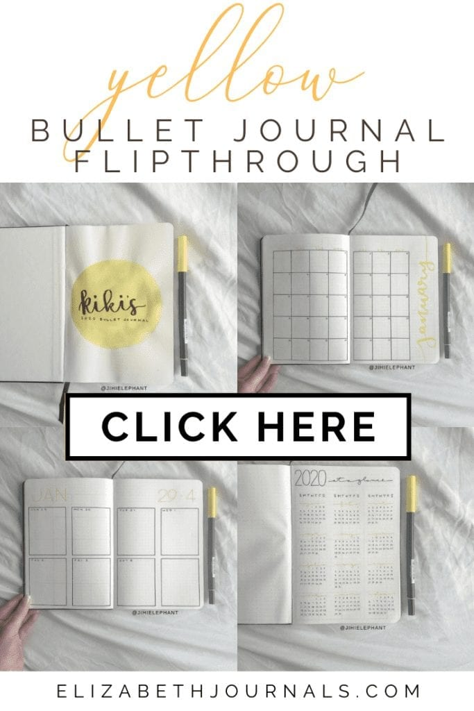 For Kiara's custom bullet journal, the primary color is yellow. Further, the layouts involved include a title page, year at a glance, monthly calendar...