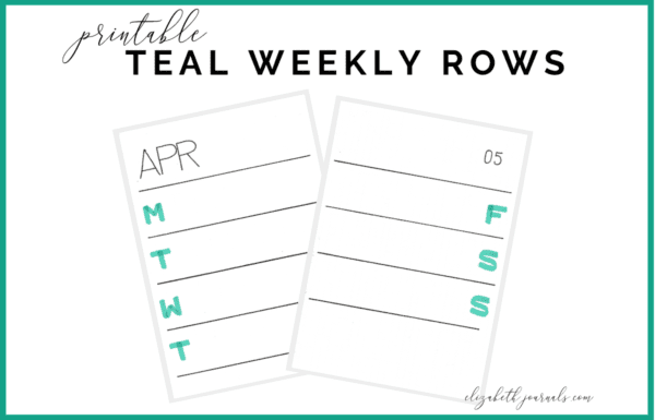 Want a more simple, yet colorful spread to track your weekly to-do's? Then, this teal weekly printable is for you. It includes teal headers/subheaders and 7 rows, one for each day of the week. You will get a PDF file including left pages for the 12 months and right pages for 5 possible weeks. This printable is great for simple and functional daily planning. This printable is not specific to any year and the pages can be interchanged to work for any year. Purchase this listing to instantly download the PDF of the designs. You get PDF to use immediately!