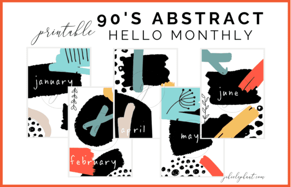 This 90's abstract hello monthly printable bundle includes 12 monthly cover or hello pages. These layouts are bright, bold, and colorful feature 90's inspired shapes and patterns. These bullet-journal-inspired downloads can be printed off and added to any planner or journal. Instantly download the PDF of these designs once you purchase the listing. You will get one download to use immediately!
