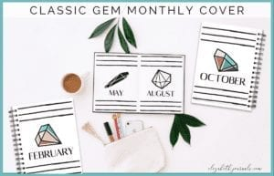 If you love a classy look and you love crystals, this classy gem monthly cover bundle is sure to be perfect for your printable or digital planner!