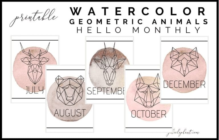 TheGeometric Animal Hello Monthly Planner Printables includes 12 monthly cover or hello pages. Additionally, these layouts are watercolored yet minimal and feature various gold speckled watercolor marks and geometric style animals. Further, these bullet-journal-inspired downloads can be printed off and added to any planner or journal. Instantly download the PNGs of these designs once you purchase the listing. You will get one download to use immediately!