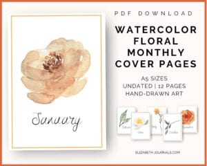 watercolor floral monthly cover pages_pdf download_a5 size_undated_12 pages_handdrawn art