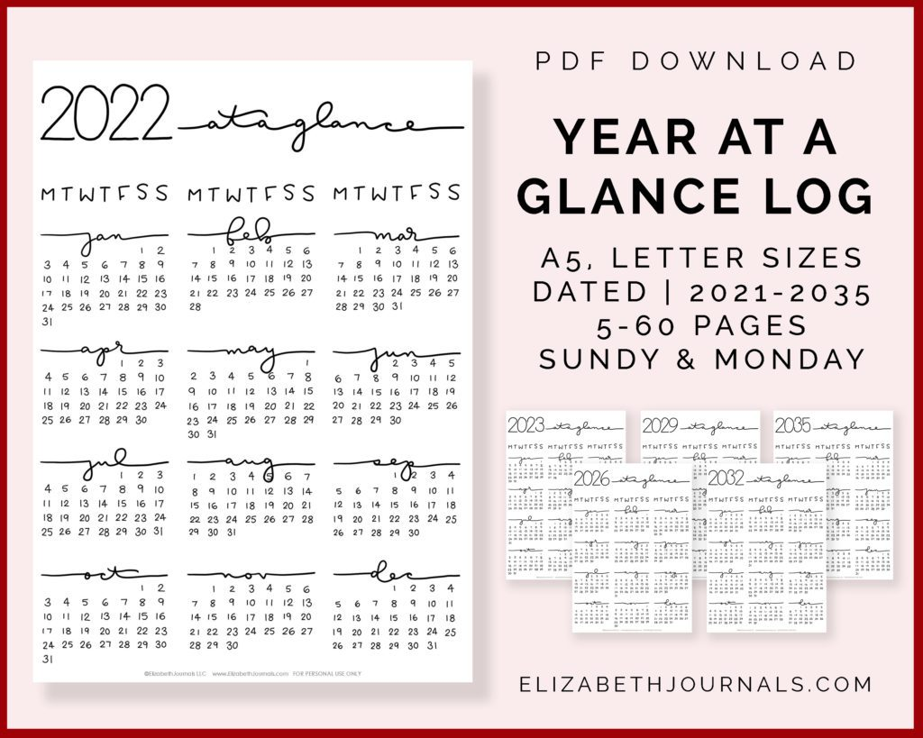 year at a glance future log-a5 letter sizes-dated-5 - 60 pages-2021-2035-monday-sunday-preview 6 pages