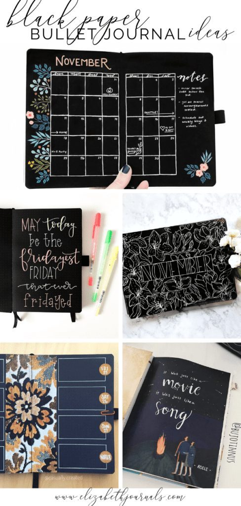 Using black paper in bullet journaling is such a cool and unique style! Here are 10 different bullet journal spreads on black paper to help you get started!