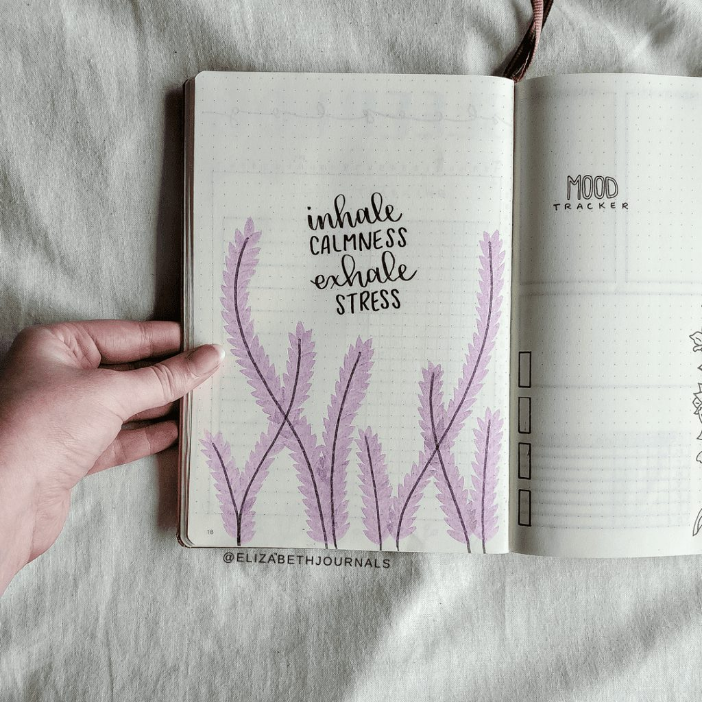 lavendar inhale calmness exhale stress quote bujo
