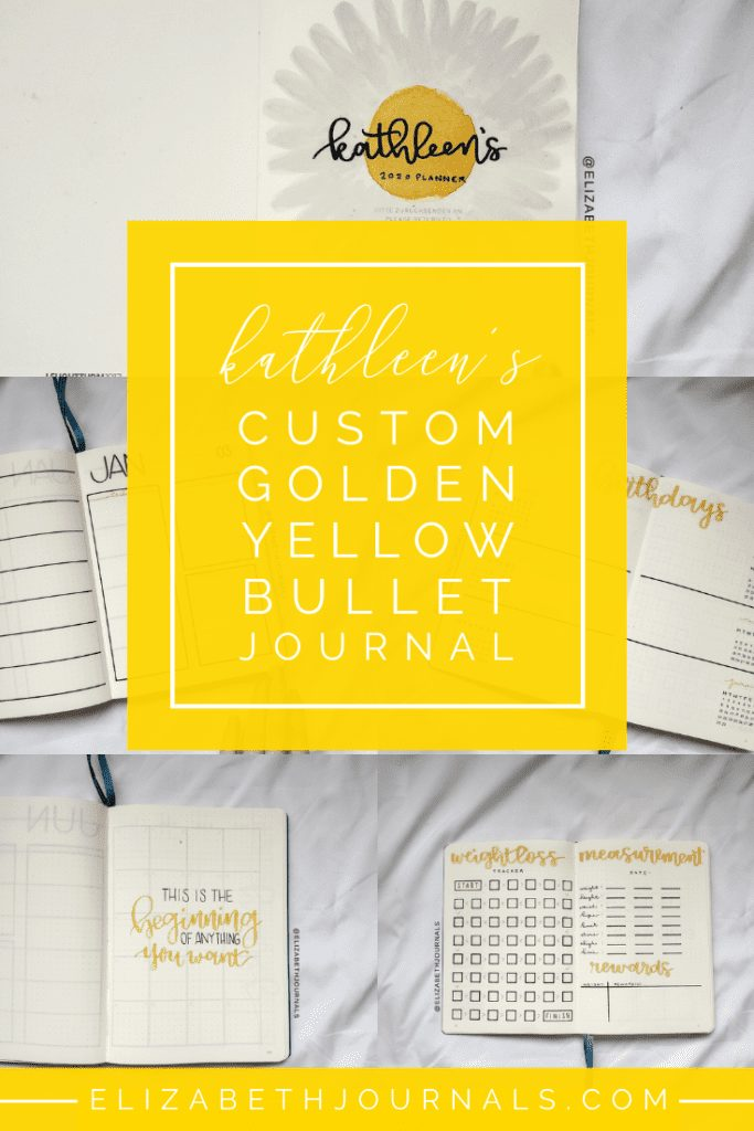 For Kathleen's  custom planner, the primary color is a golden yellow.The layouts involved include a title page, year at a glance, birthday log, monthly quotes, monthly calendar, and a weekly spread.  Here you can read more about Kathleen's planner.