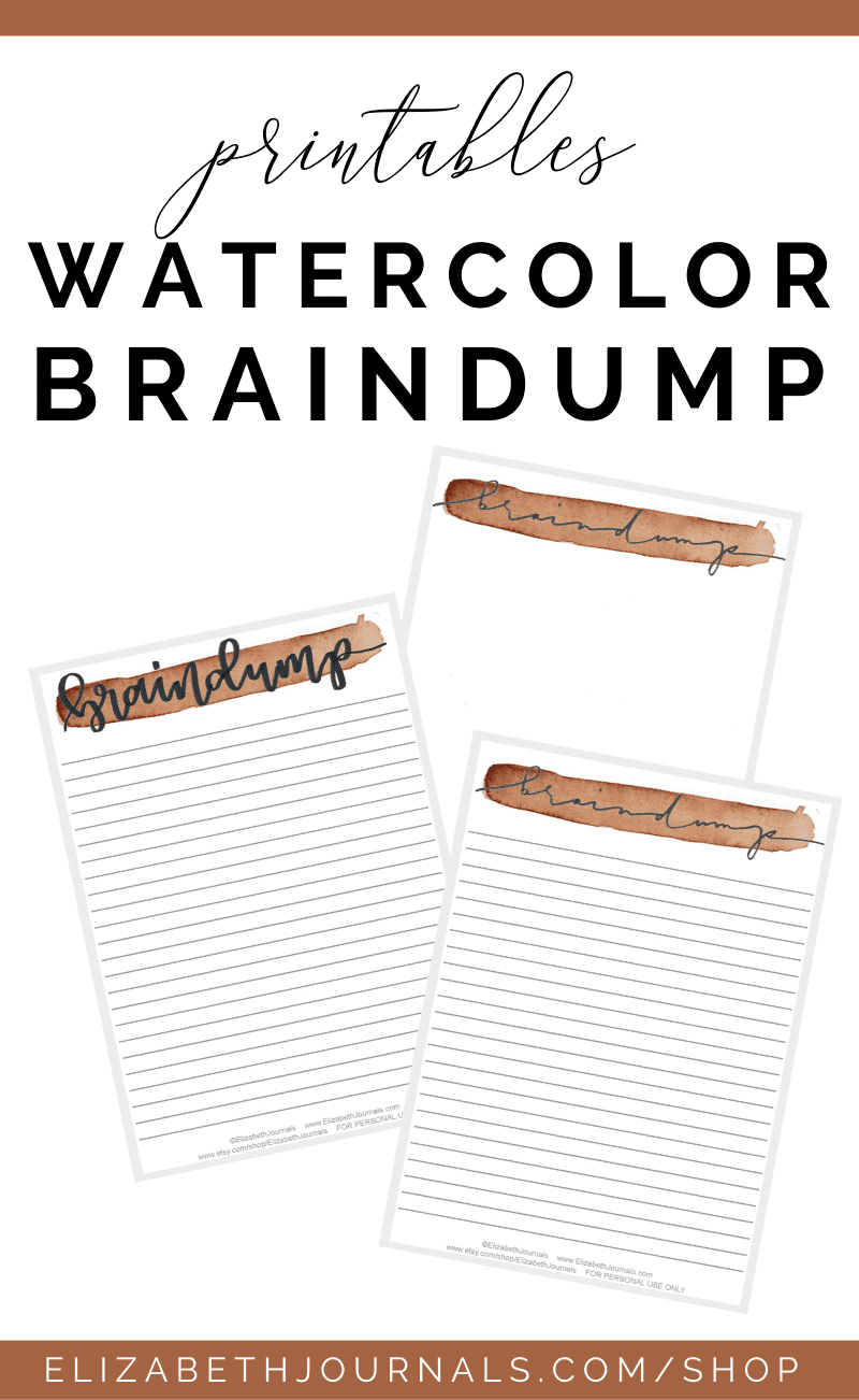 This watercolor braindump planner printable is an A5 sized page perfect for every planner. The page comes in 9 different watercolor colors: red, orange...