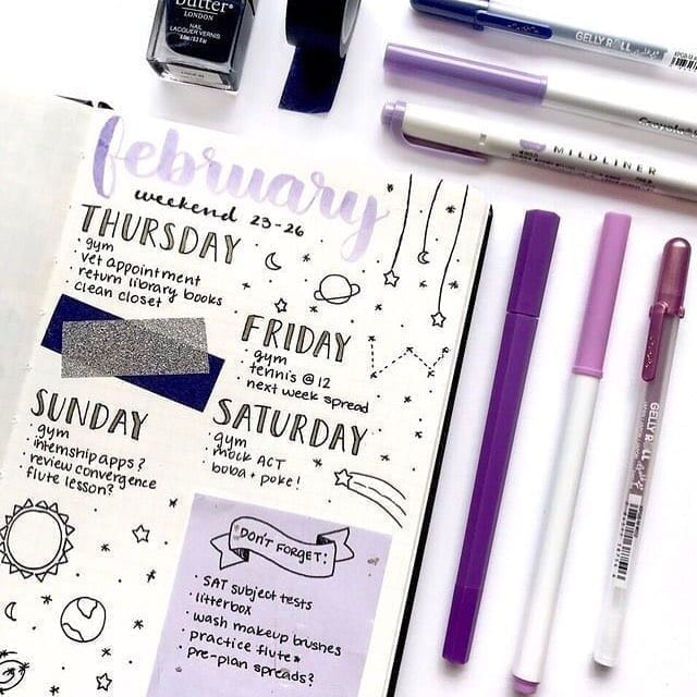 february week bullet journal