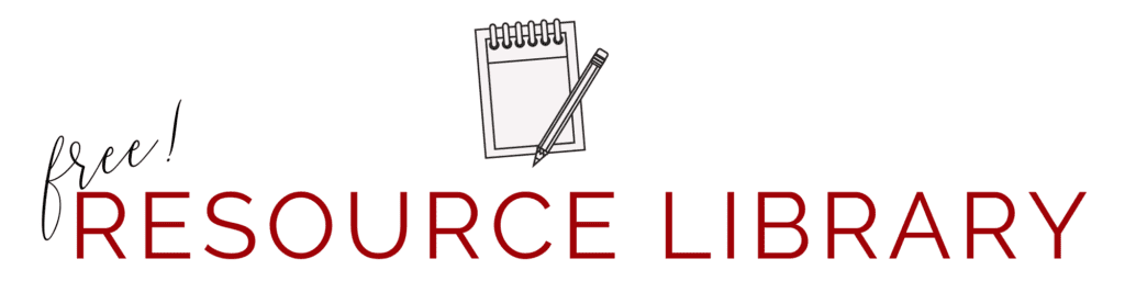 free resource library banner with notepad and pen