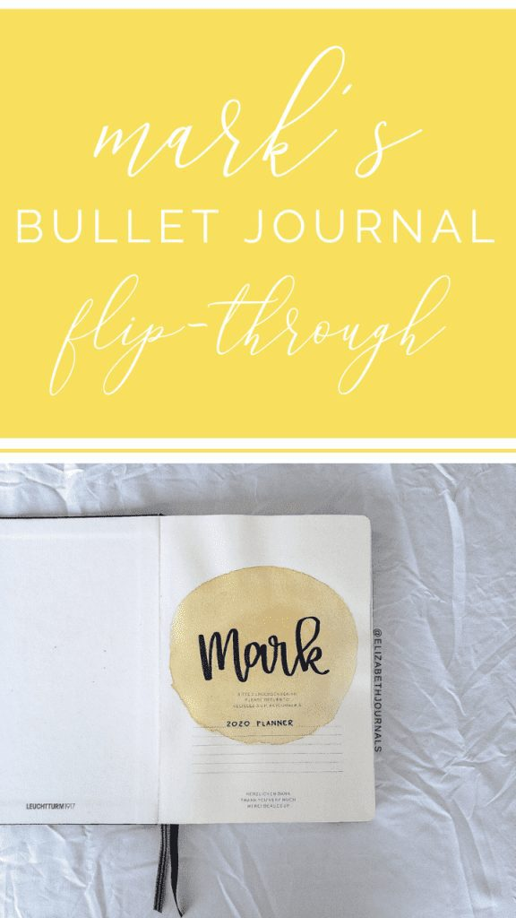For Mark's custom bullet journal, the primary color is a golden yellow. The layouts involved include a title page, year at a glance, monthly calendar, weekly grid, and custom chart.  Here you can read more about Mark's planner.