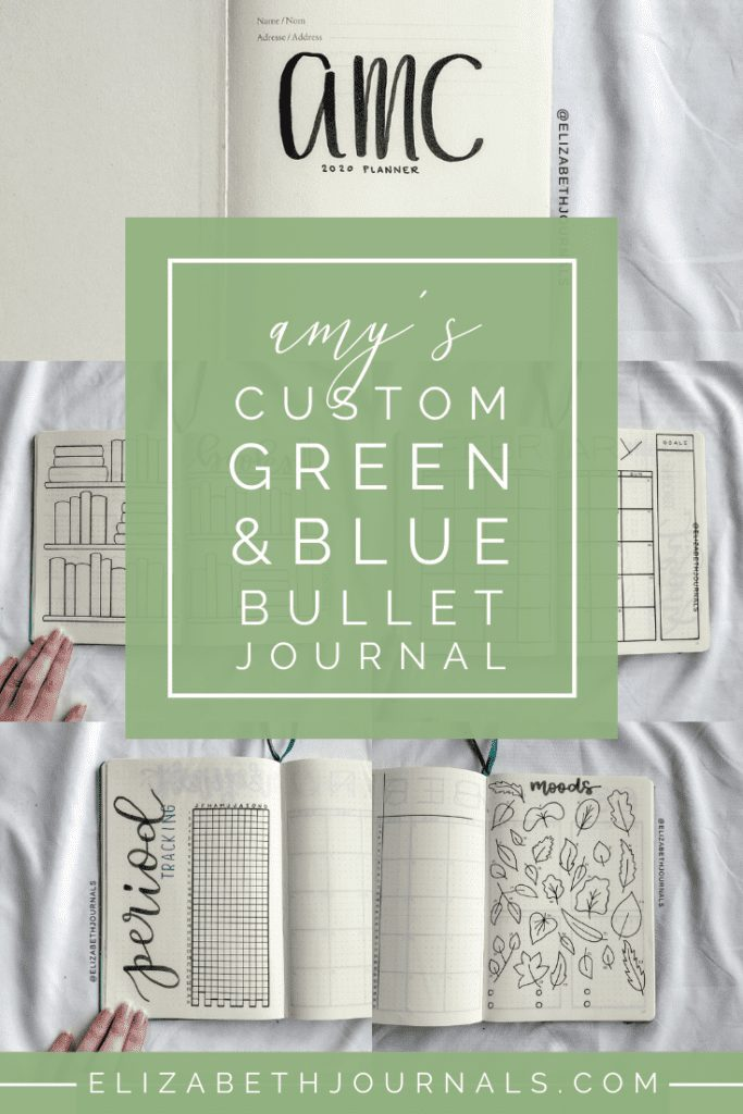 For Amy's custom bullet-journal-inspired planner, the main colors are green and blue. The layouts involved include a title page, year at a glance, books to read, wishlist, prayer requests, period tracker, monthly calendar, monthly habit tracker, monthy mood trackers, and weekly grid.  Here you can read more about Amy's planner.