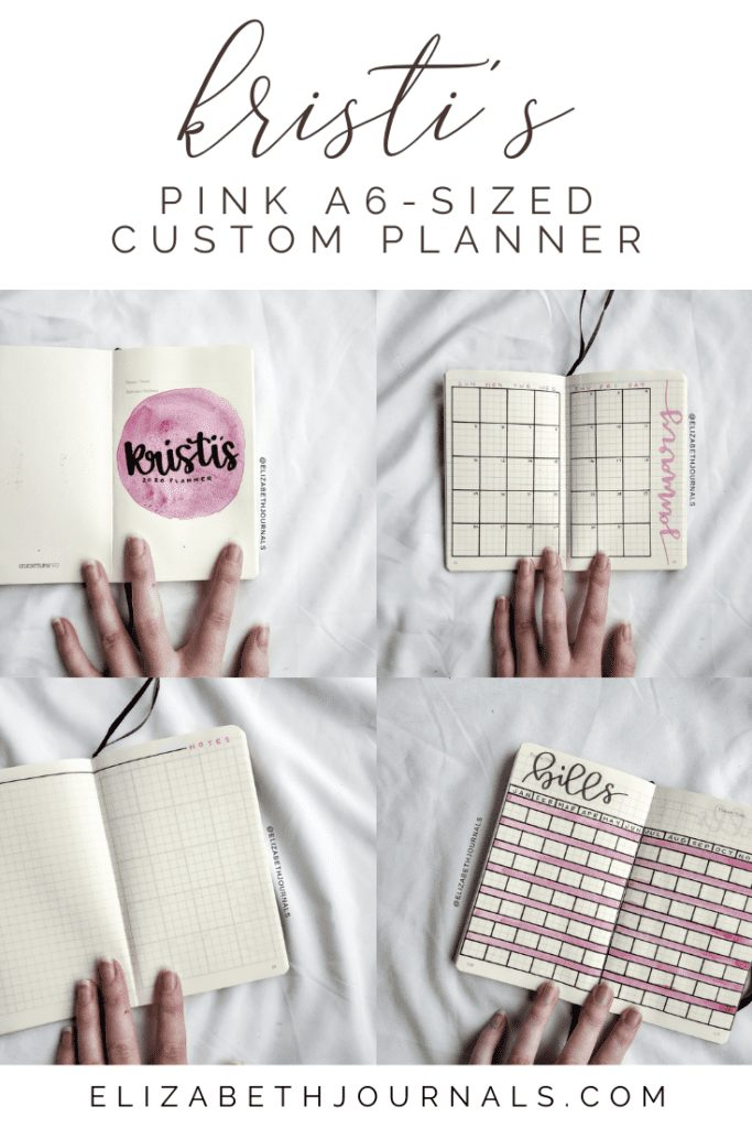 For Kristi's custom bullet-journal-inspired planner, the main color used is a dark muted pink. The layouts involved include a title page, year at a glance, monthly calendar, monthly to-do list, monthly 'groceries' list, monthly notes, and bill tracking. Here you can read more about Kristi's planner.