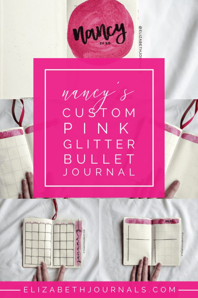 For Nancy's custom bullet-journal-inspired planner, I used glitter pink as the main color. The layouts involved include a title page, index, monthly calendar, to-do lists, notes, and a medication tracker.  Here you can read more about Nancy's planner.
