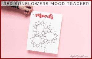 This red sunflower mood tracker is a one-page tracker. The petals can be colored in, doodled in, or written in to depict each day's mood. The mood key is located in the top right and bottom center of the layout. If you love sunflowers and want to track your moods, this bullet journal layout is perfect for you! This printable is great for any person wishing to add some summer to their planner. Additionally, these designs are hand-lettered.