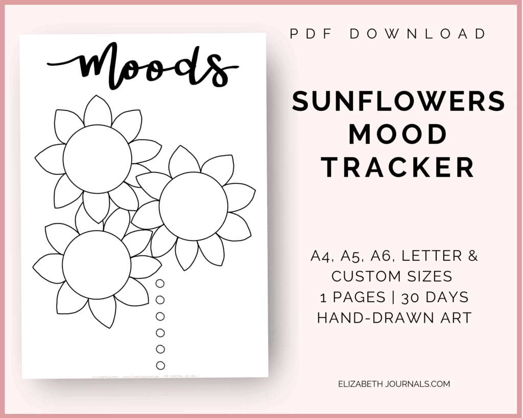 sunflowers mood tracker info cover page; a6, a5, a4, letter, and custom sizes; 1 page; 30 days, hand-drawn art; pdf download; page thumbnail