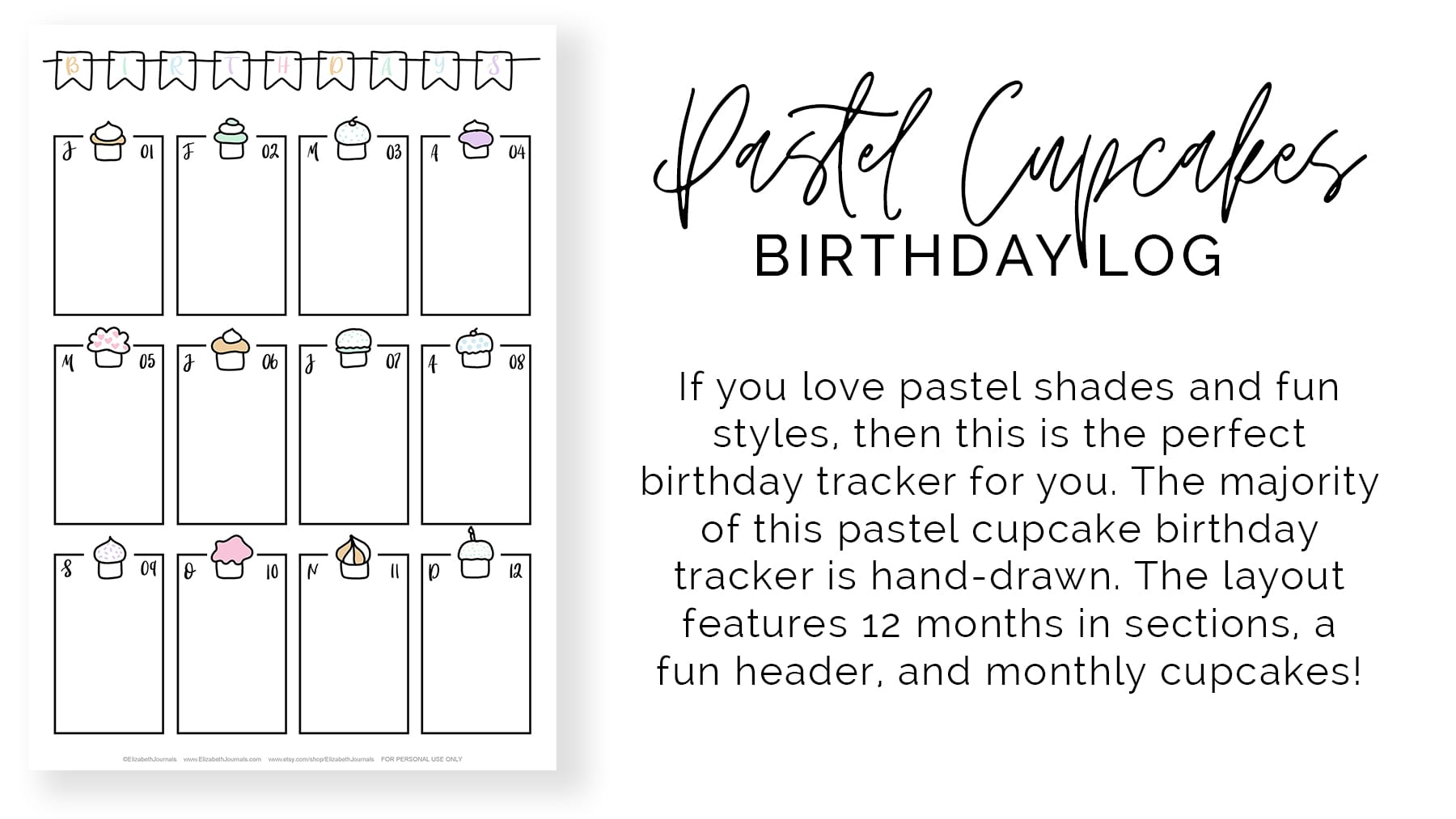 banner-pastel-cupcakes-birthday-log-If you love pastel shades and fun styles then this is the perfect birthday tracker for you_The majority of this pastel cupcake birthday tracker is hand-drawn