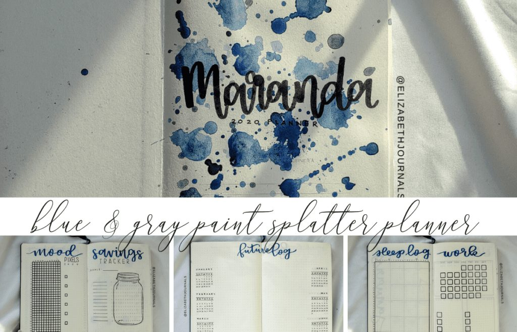 The most popular items in my shop is the custom bullet-journal. Today, we will walk through a blue and gray paint splatter journal for Maranda.