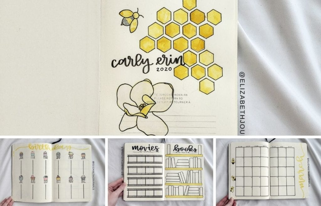 Carly Erin's theme is honeycomb and magnolia. The layouts involved include a cover page, year at a glance, movies to watch, books to watch...