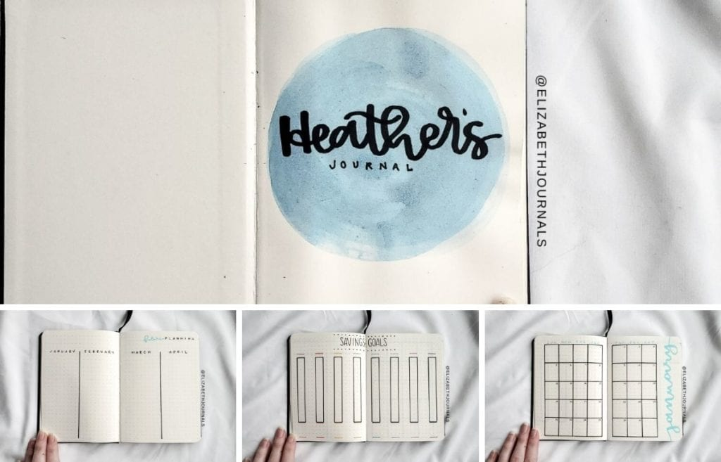 For Heather's custom notebook, her primary color is light blue. Further, the layouts involved include a title page, future log, savings goals, monthly ...