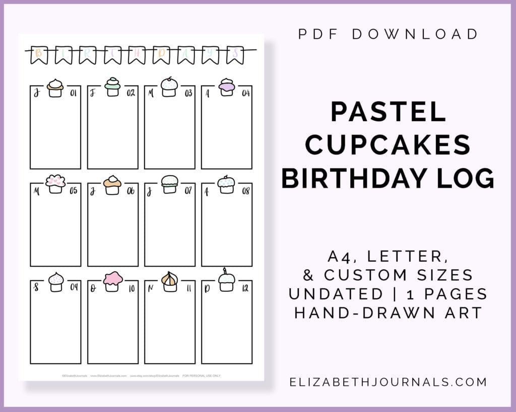 pastel cupcakes birthday log-a4 letter custom sizes-undated-1 page-hand-drawn-pdf download-preview of page