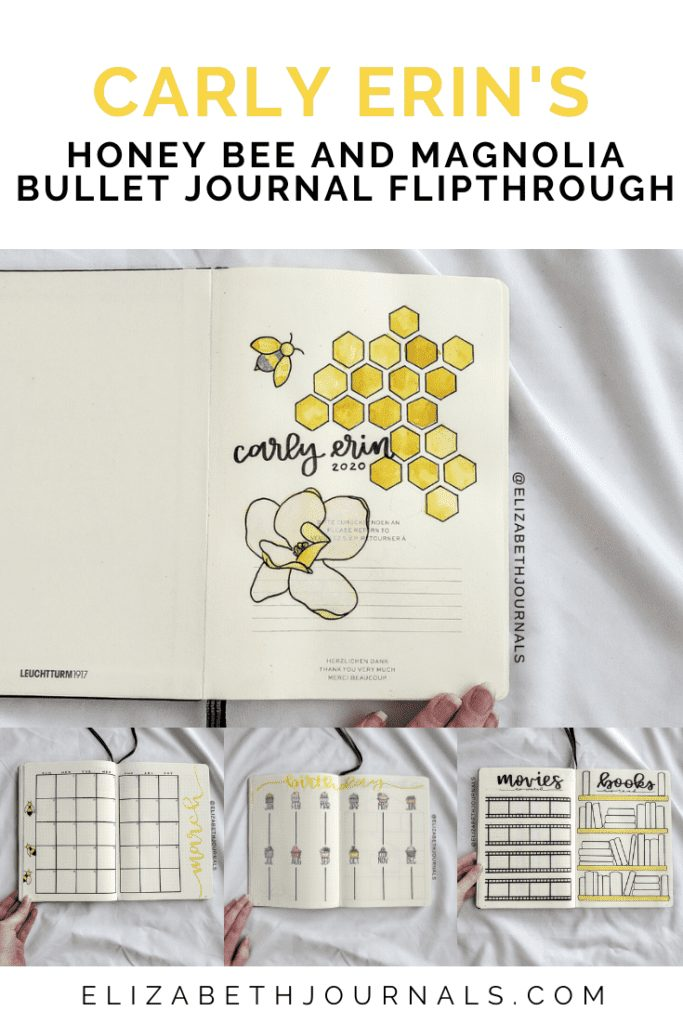 Carly Erin's theme is honeycomb and magnolia. The layouts involved include a cover page, year at a glance, movies to watch, books to watch, my favorite...