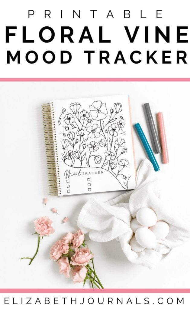 This floral mood tracker is a one-page tracker. The different flowers and buds can be colored in, doodled in, or written in to depict each days mood.