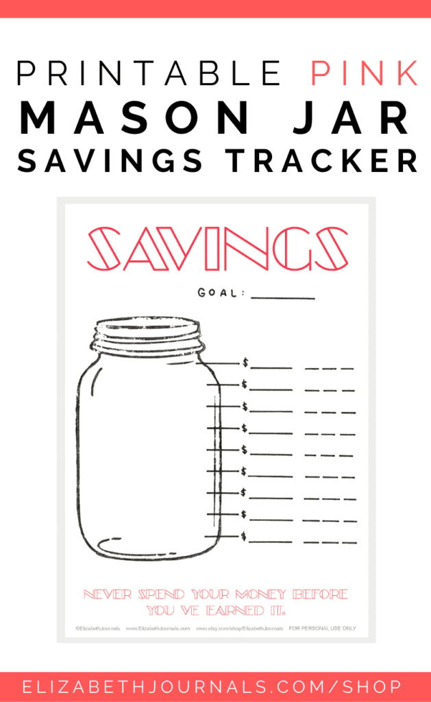 This printable layout is a mason jar style savings tracker to help you track your savings for a particular goal or period of time. This layout includes various style options, each with varying details. These Mason Jar Savings Tracker Printables include four different styles, as listed below. These layouts are each their own and feature hand-drawn elements.  Available Styles Pink & Modern Blue & Bold Banner & Vines Elegant & Feminine