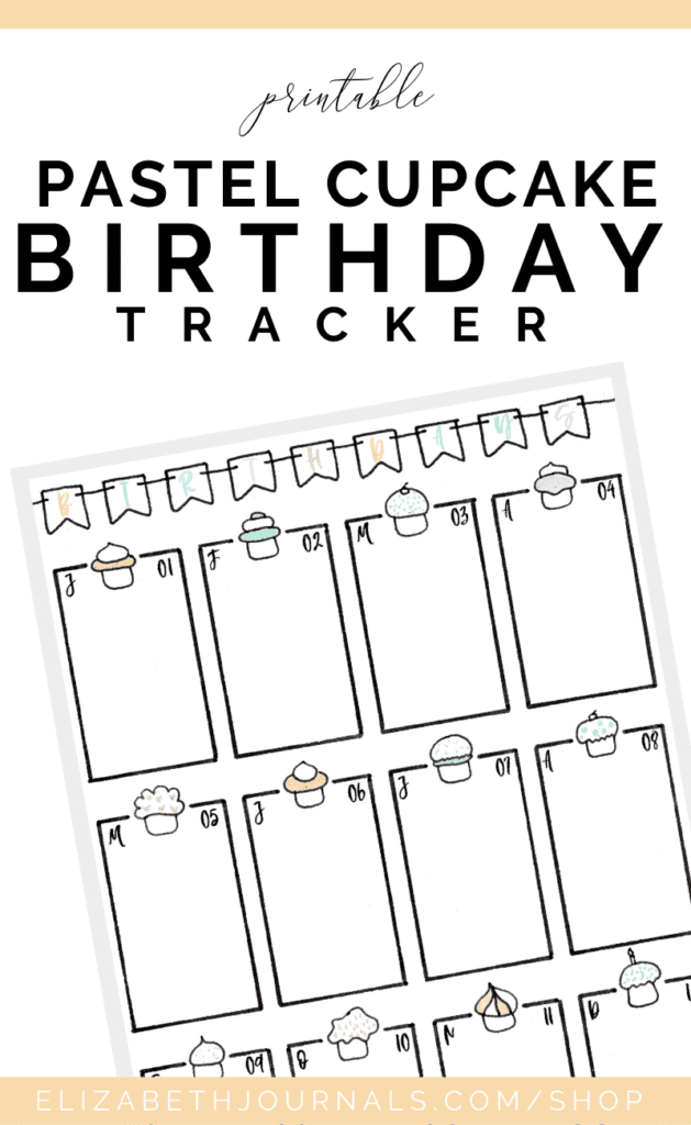 If you love pastel shades and fun styles, then this is the perfect birthday tracker for you. The majority of this pastel cupcake birthday tracker is hand-drawn. The layout features 12 months in sections, a fun header, and monthly cupcakes. These bullet-journal-inspired downloads can be printed off and added to any planner or journal. Instantly download the PDF of these designs once you purchase the listing. You will get one download to use immediately!