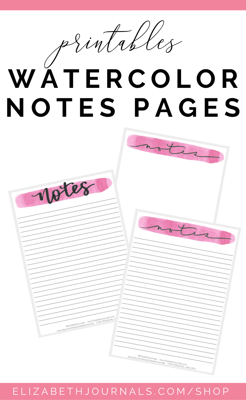 This minimal watercolor notes list is an A5 sized notes paget perfect for every planner. The page comes in 9 different watercolor colors: red, orange...