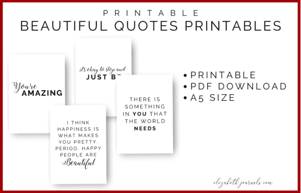 Are you looking to spruce up your planner or bullet journal or encourage a positive mindset? One of the most amazing ways to do this is with beautiful quotes! These quotes feature both black print and script lettering. The quotes included are listed below. Purchase this listing to instantly download the PDF of the designs. You get 1 PDF file including!