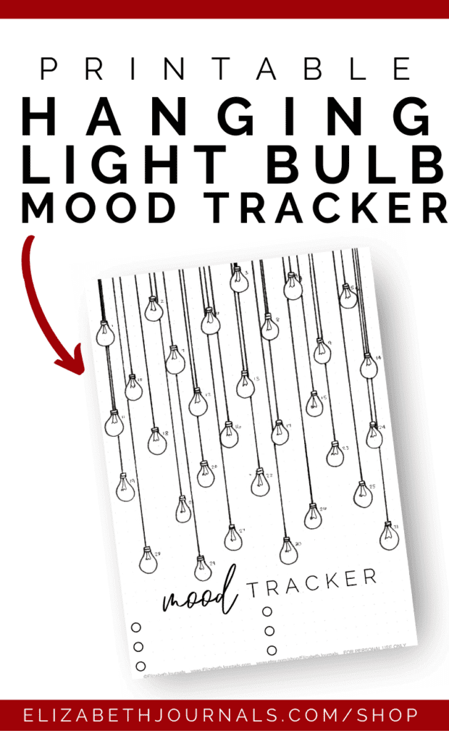 This hanging light bulb mood tracker is a one-page tracker. If you love industrial styles and tracking your moods, this printable is perfect for you!